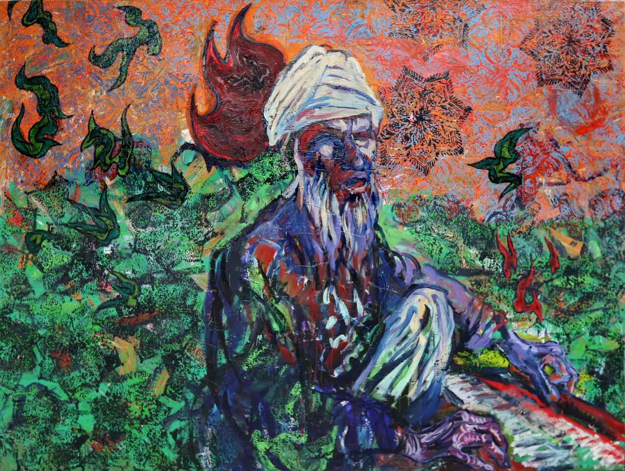 PAINTINGS OF THE OLD SUFI AND THE MYSTICAL PAINTINGS HE HAS INSPIRED.